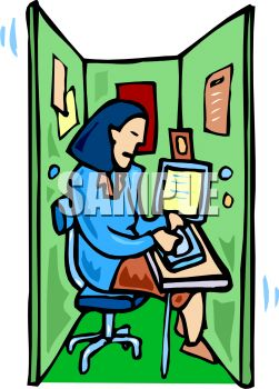 Woman Working in a Cramped Cubicle