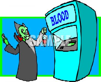 Cartoon of a Vampire Getting Blood at a Blood Bank