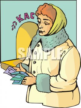 Russian Woman Counting Money at a Bank
