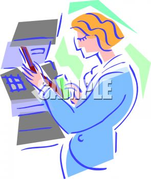 Stylized Woman at an ATM - Royalty Free Clip Art Illustration