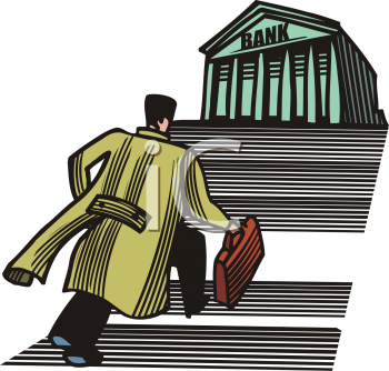 Businessman Running Up the Steps of a Large Bank