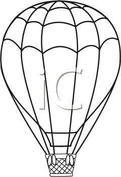 Black and White Line Drawing of a Hot Air Balloon
