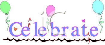 Celebrate Text with Balloons - Royalty Free Clipart Picture