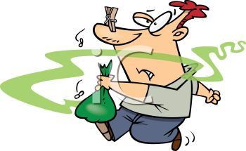 Cartoon of a Guy Taking Smelly Garbage Out