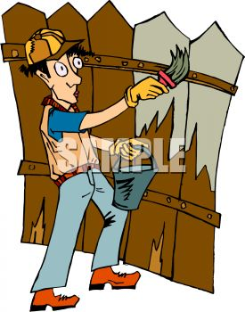 Man Staining a Fence