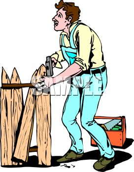 Royalty Free Clipart Image Handyman Repairing A Broken Fence - Cartoon fence clip art