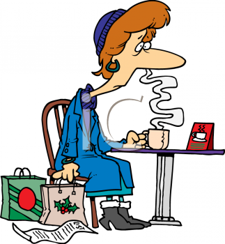 Cartoon of a Woman Tired Out from Christmas Shopping