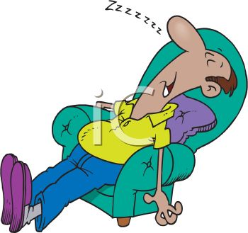 Cartoon of a Tired Man Snoring in a Chair