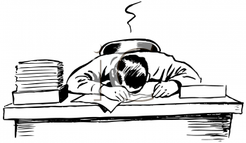 Black and White Vintage Cartoon of a Man Asleep at His Desk