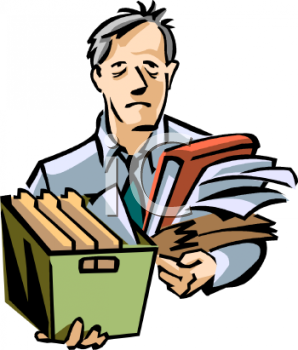 Cartoon of a Tired Man Carrying Office Files