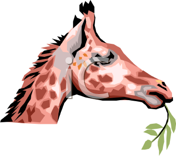Realistic Style Baby Giraffe Eating a Branch
