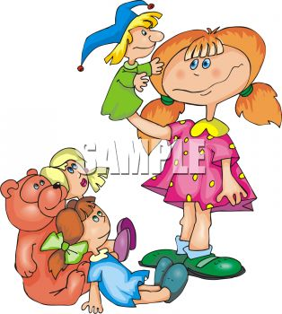 Royalty Free Clipart Image: Little Girl Playing with Puppets and Dolls