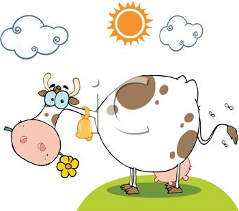 Cute Cartoon Cow with a Flower in Her Mouth