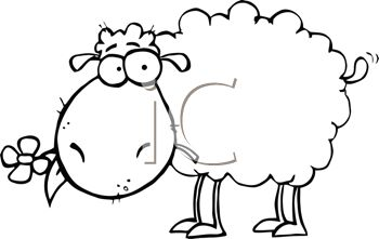 Cute Cartoon Sheep With a Flowers in His Mouth