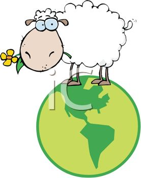 Cute Cartoon Sheep Standing on Top of the World