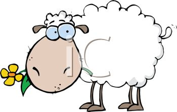 Cute Cartoon Sheep with a Flower in It's Mouth