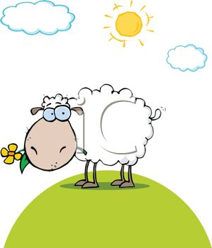Cute Cartoon Sheep Standing in a Field on a Summer Day