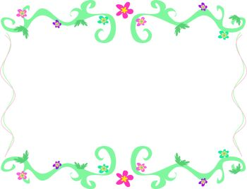 Vines and Little Flowers Page Border - Royalty Free Clip Art Image