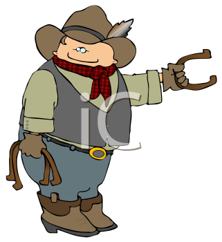 Cartoon Cowboy Playing Horse Shoes