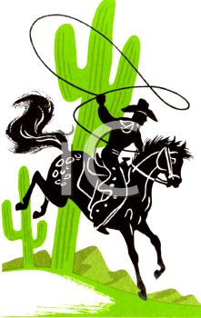 Silhouette of a Cowboy with a Lariat and Cactus