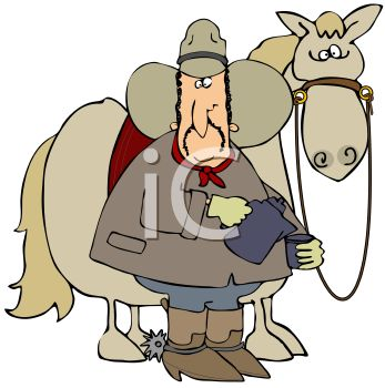 Cartoon of a Cowboy Pouring Coffee with His Horse