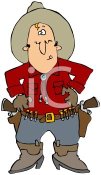 Cartoon of a Cowboy Wearing Holsters