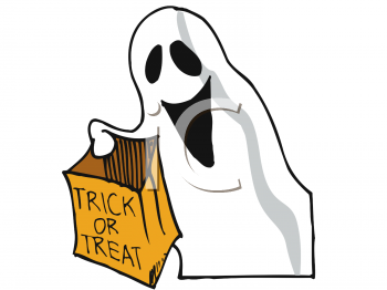 royalty free clipart image halloween ghost holding a trick or treat bag rh clipartguide com