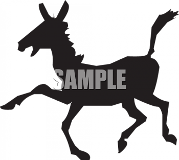 Silhouette of a Donkey Trotting