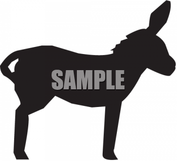 Silhouette of a Mule with His Ears Perked Up