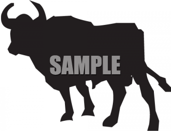 Silhouette of a Bull with Curved Horns