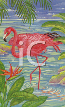 Flamingo Wading in Water with Foliage