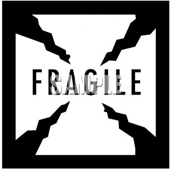 This black and white fragile sign clipart image can be licensed as part of