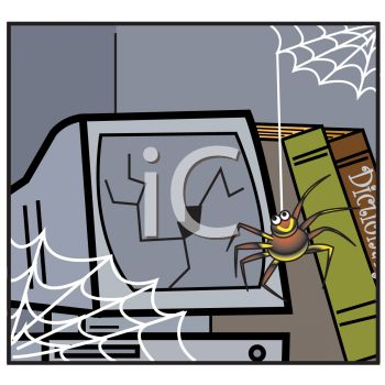 Spider Handing Down in Front of a Cracked Computer Monitor
