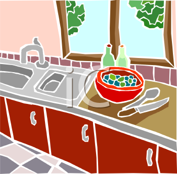 "This ""sink and counter in a kitchen"" clipart image is available through a"