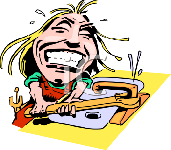 Caricature of a Woman Fixing a Broken Faucet