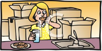 Cartoon of a Woman Eating Cookies with Unpacked Boxes