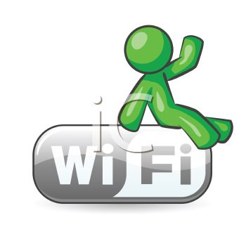 Icon of a Green Character Sitting on a Wi-Fi Sign