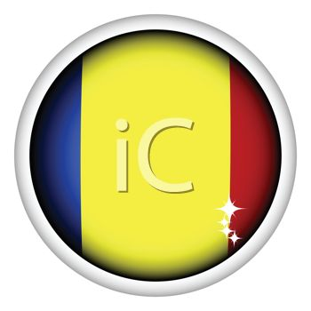 Glossy Button for the Flag of Romania
