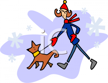 Cartoon of a Woman Walking Her Dog in Winter