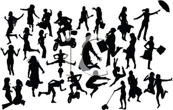 Collection of Silhouettes of People Doing Various Activities