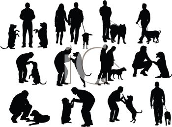 Collection of Silhouettes of People With Their Dogs