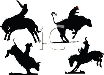 Silhouette of Cowboys Riding Broncs and Bulls
