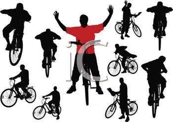 Silhouette of a Collection of Men Riding Bikes