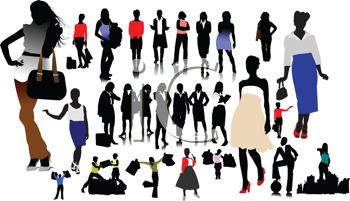 Royalty Free Clip Art Image: Collection of Silhouettes of Young ...