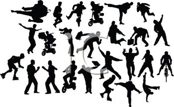 Collection of Silhouettes of Men Doing Various Activities