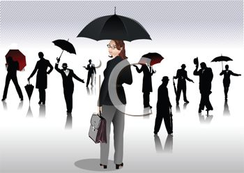 Collection of People Holding Umbrellas in Silhouette