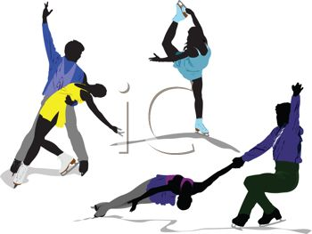 Silhouette of a Group of Ice Skaters