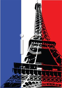 Eiffel Tower on the French Flag Background