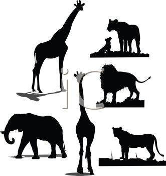 Royalty Free Clipart Image: Collection of Wild Animal Silhouettes