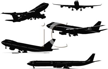 Silhouette of a Collection of Various Airplanes